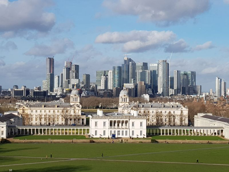 Blick vom 'Royal Observatory' Richtung 'Canary Wharfs'